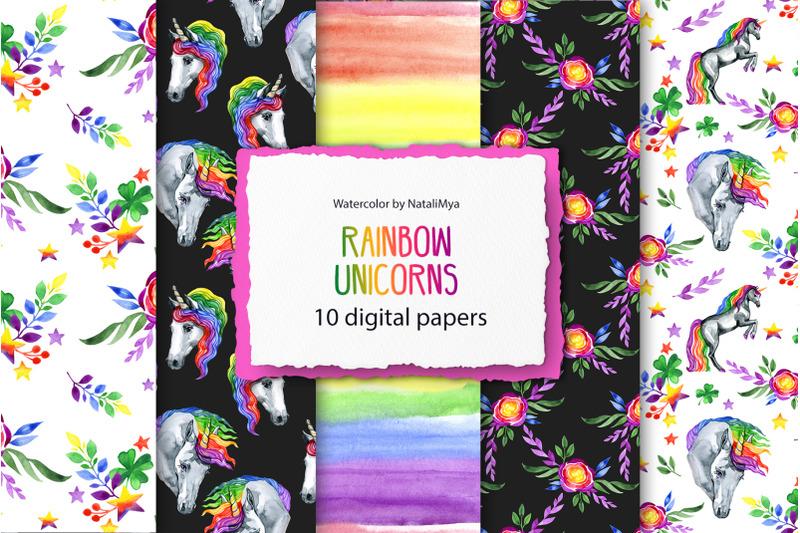 rainbow-unicorns-digital-paper-pack