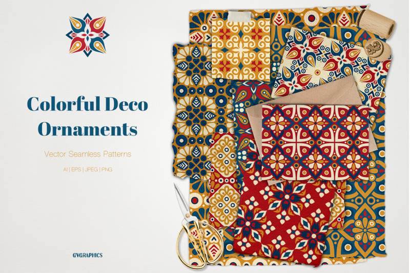 colorful-deco-ornaments-vector-seamless-patterns