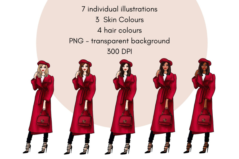 girls-in-red-2-fashion-clipart-set