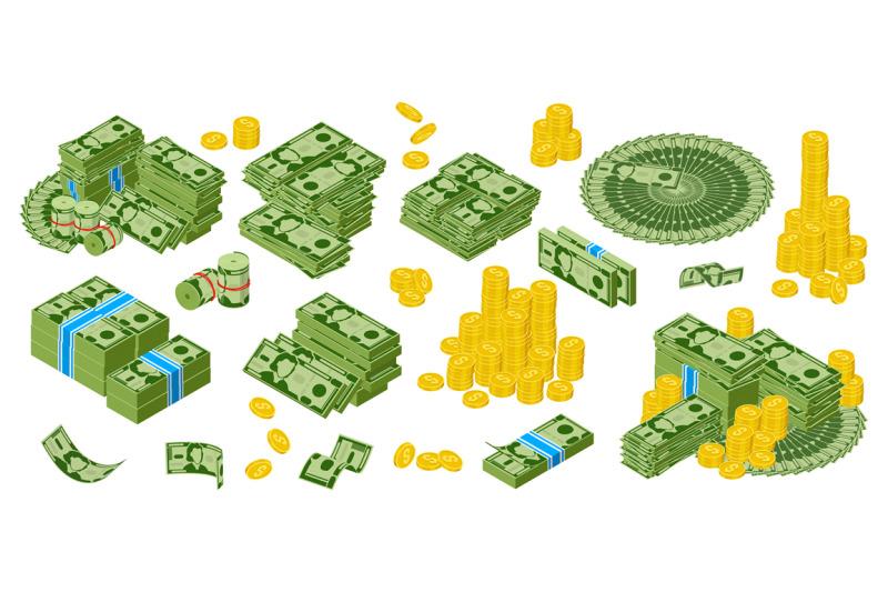 isomeric-dollar-cash-green-dollar-bills-and-golden-coins-piles-bundl