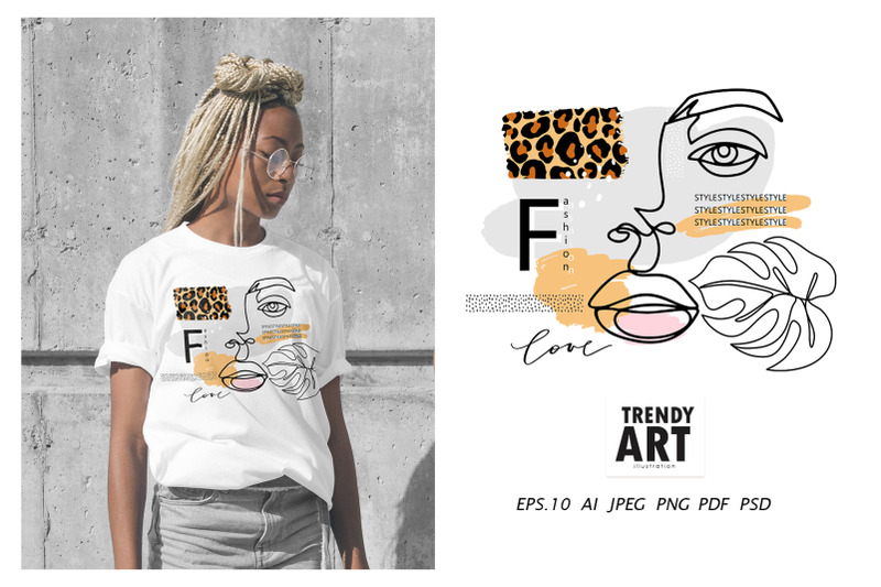 sublimation-one-line-art-print-modern-leopard-abstract-face