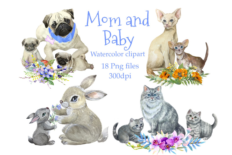 mother-and-baby-animals-watercolor-clipart-mothers-day