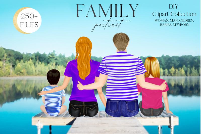 family-clipart-diy-portrait-custom-family-portrait-sitting-family