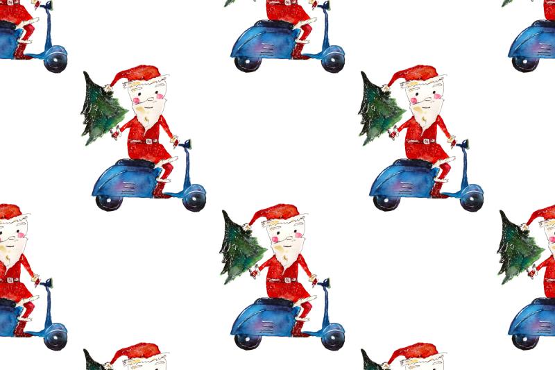 xmas-pattern-santa-on-motorbike