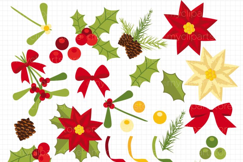 christmas-flowers-holly-and-mistletoe-vector-clipart