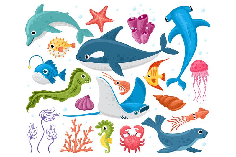 ocean-animals-cartoon-marine-wildlife-creatures-orca-stingray-crab