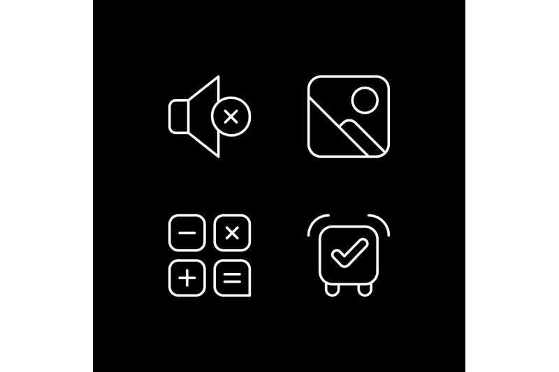 smartphone-interface-white-linear-icons-set-for-dark-theme
