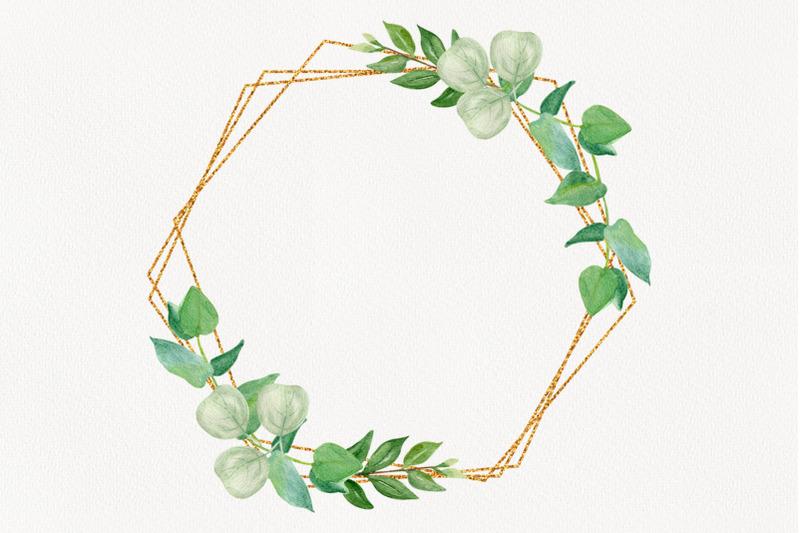 golden-frame-eucalyptus-leaves-clipart