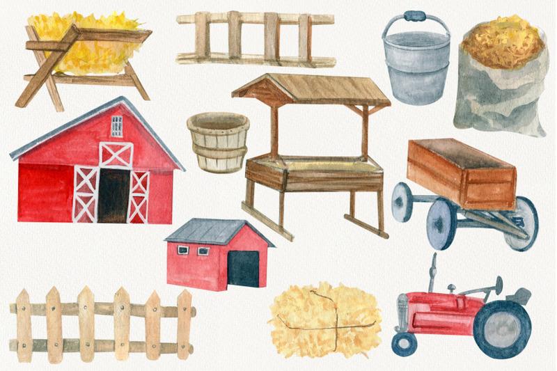 watercolor-creator-farm-clipart-red-barn-tractor