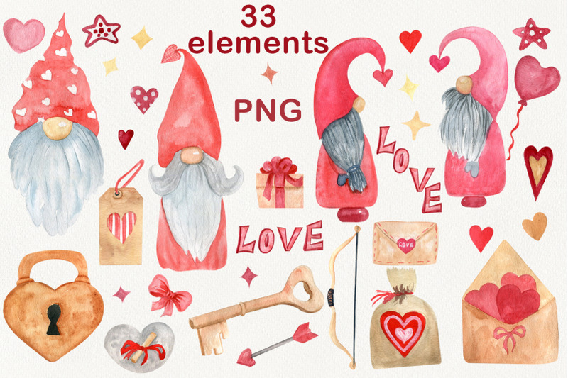 valentine-gnomes-clipart-watercolor-heart-lock