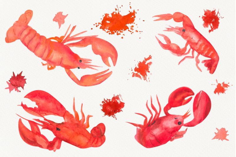 lobster-food-clip-art-under-the-sea-watercolor-clip-art