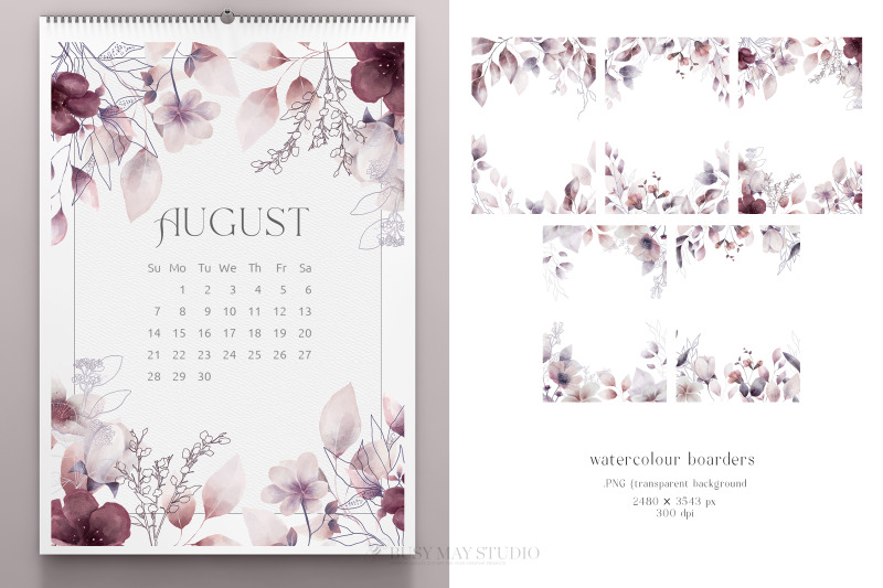 whimsical-leaves-flowers-birds-moons-watercolor-patterns