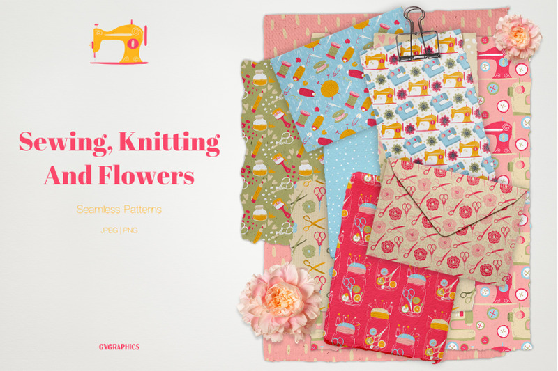 sewing-knitting-and-flowers-seamless-patterns