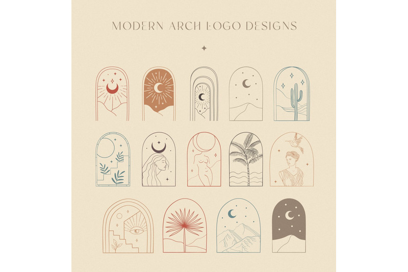 colorful-bohemian-modern-arch-logo-designs-collection-frame-border