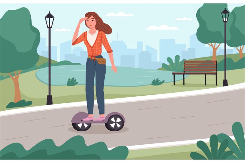 electric-city-transport-young-girl-rides-segway-in-park-location-out