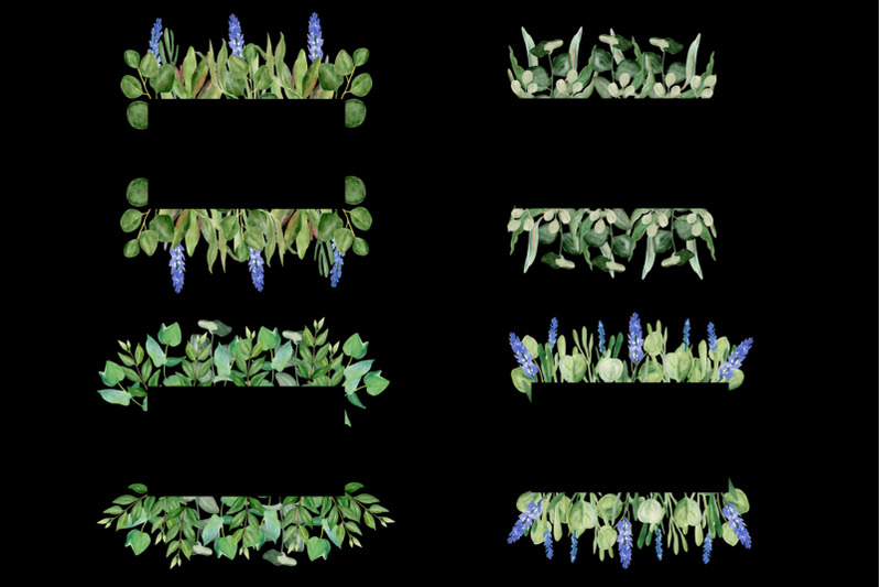 watercolor-frame-eucalyptus-leaves-lavender-plant