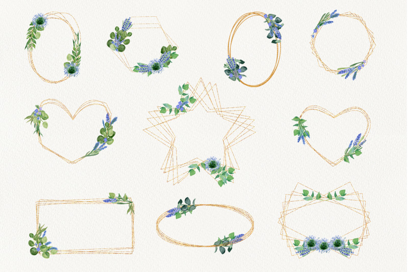 gold-frames-with-lavender-and-eucalyptus