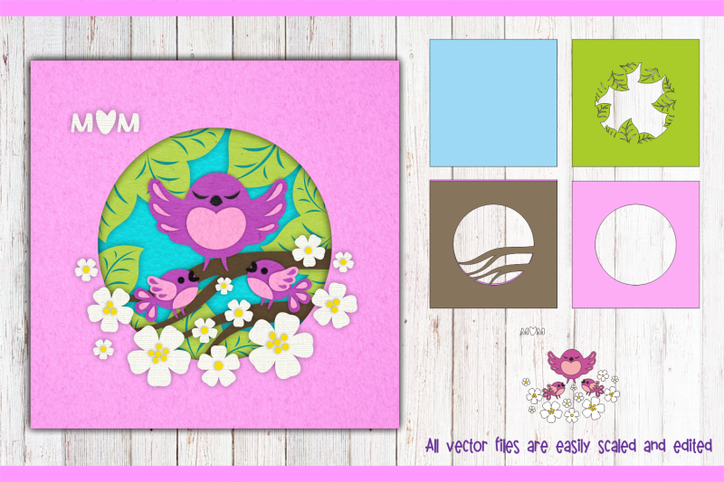 mother-bird-with-chicks-shadow-box-template-svg