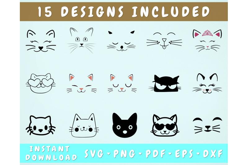 15-cat-face-svg-bundle-cricut-cut-files