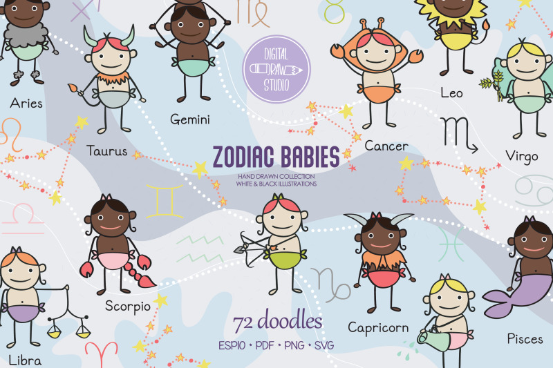 colored-zodiac-baby-boys-amp-girls-astrology-signs-constellations