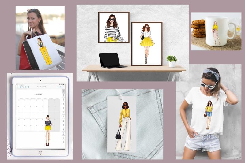 girls-in-yellow-3-fashion-illustration-clipart