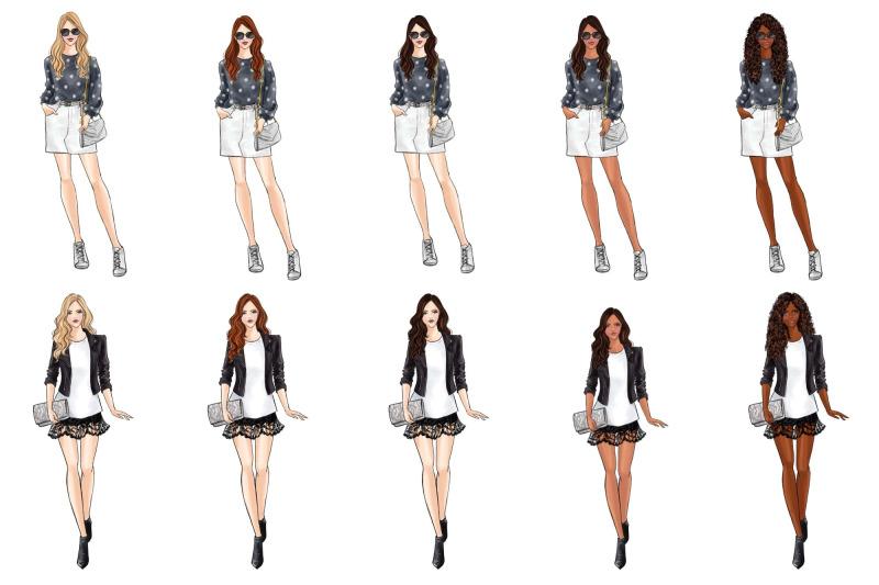 girls-in-grey-fashion-clipart-set
