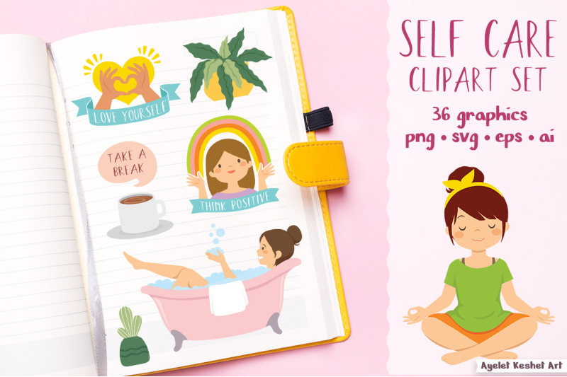 self-care-clipart-set-yoga-relaxation-positivity-and-self-love