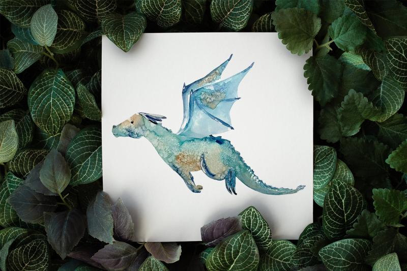 cute-dragons-watercolor-clip-art-set