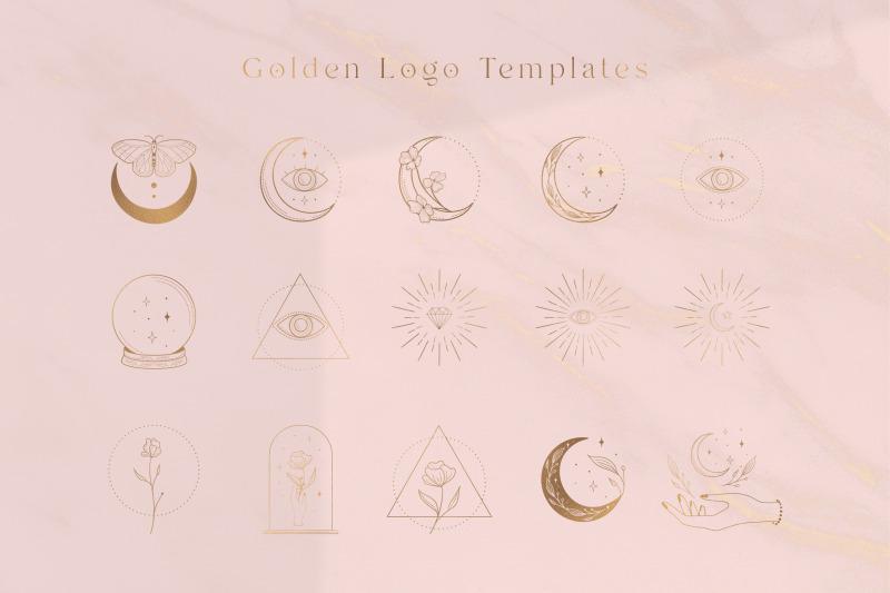 golden-logo-elements-illustrations-social-media-branding-premade