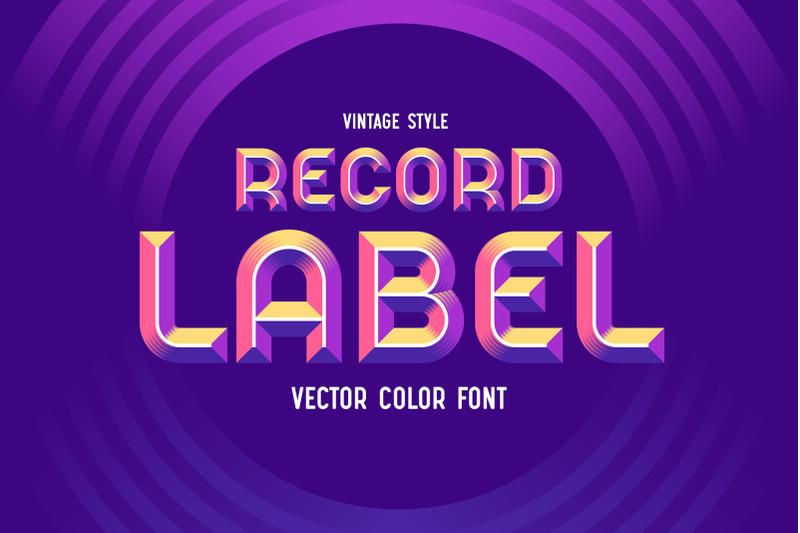 record-label-color-vector-font