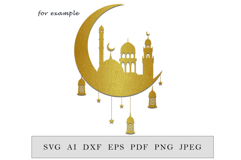 crescent-with-lantern-and-mosque-ramadan-decoration-islamic-home-decor-digital-cut-file-svg-dxf-png-file
