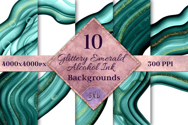 glittery-emerald-alcohol-ink-backgrounds-10-image-set