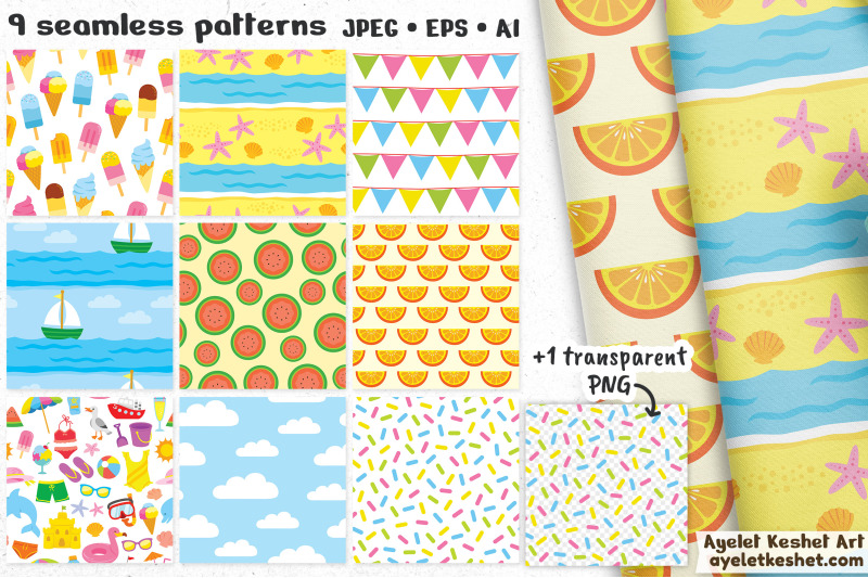 summer-clipart-beach-clipart-with-seamless-patterns