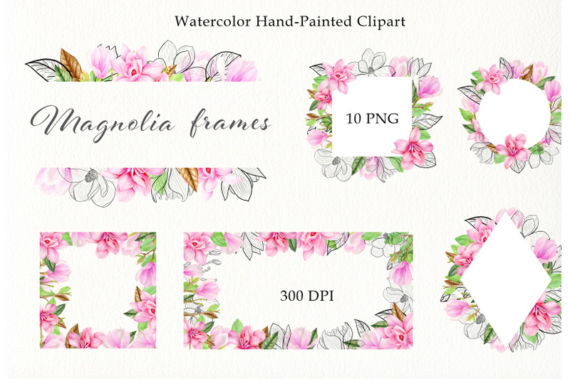 watercolor-pink-magnolia-frames-clipart-set-hand-painted-spring-png