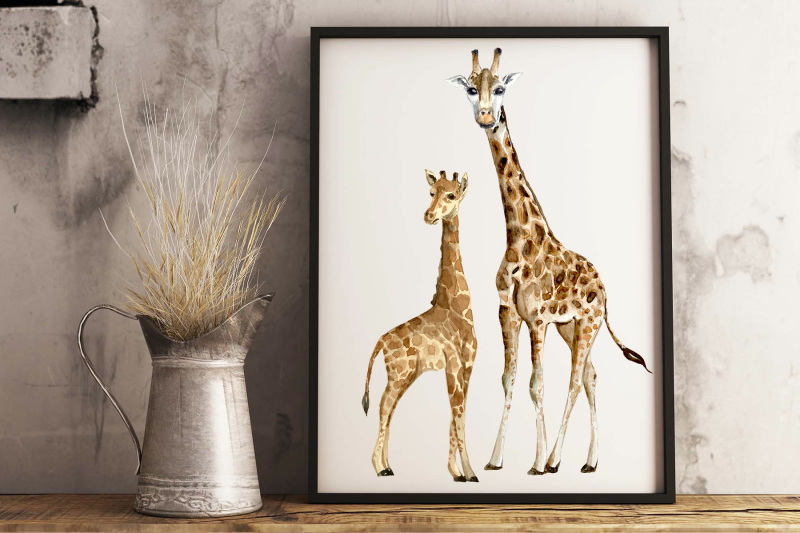 watercolor-giraffes-clip-arts