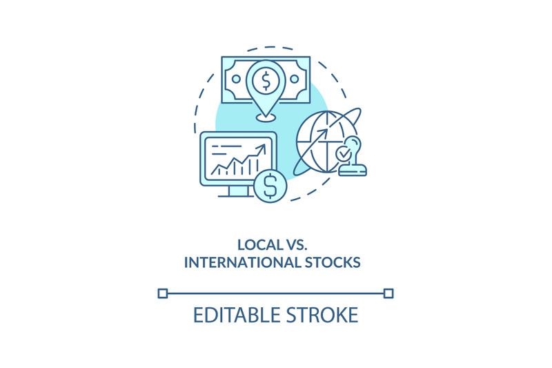 local-vs-international-stocks-concept-icon