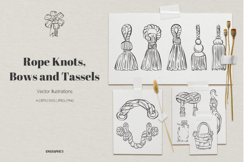 rope-knots-bows-and-tassels-vector-illustrations