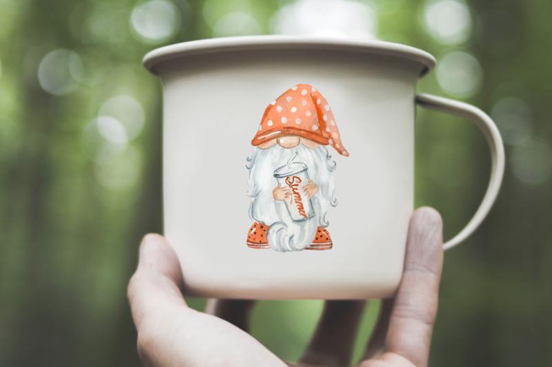 gnomes-on-vacation-watercolor-clip-art-set