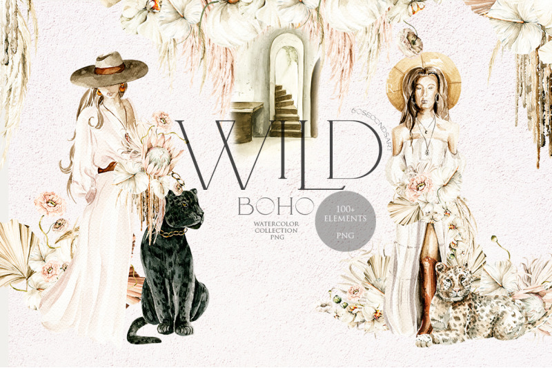 wild-boho-girls-and-wildcat-watercolor-clipart