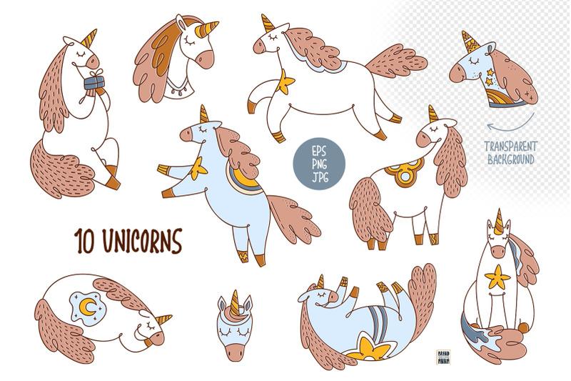 little-unicorn-vector-clipart-set