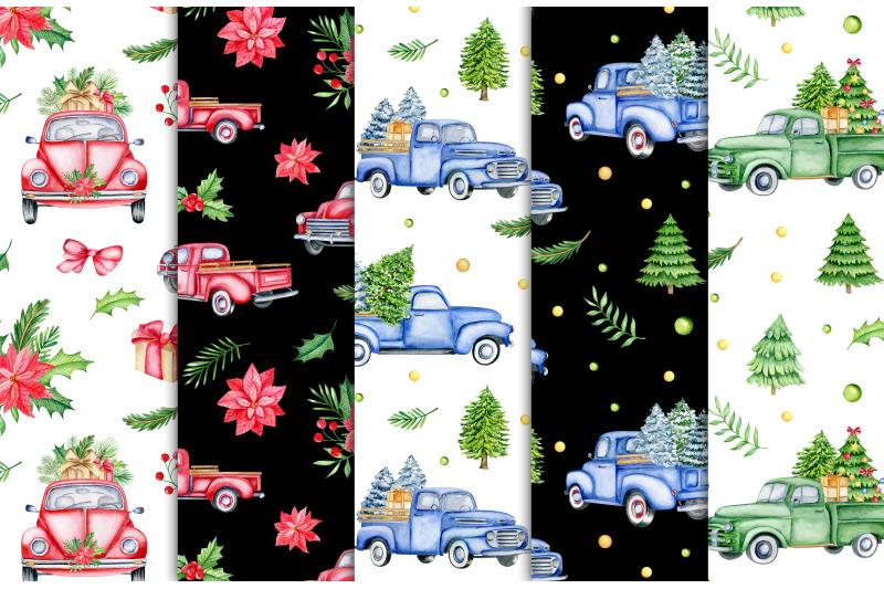 christmas-retro-cars-watercolor-digital-paper-vintage-trucks-seamless