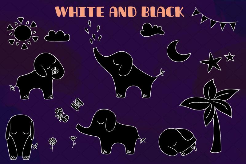 white-hand-drawn-elephants-jungle-animal-sun-moon-flower-tree