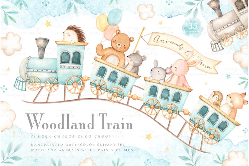 woodland-train-watercolor-clip-arts