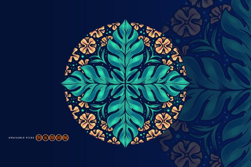 mandala-art-seamless-leaf-flowers