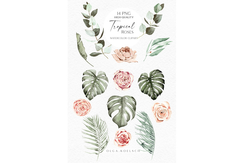 boho-tropical-clipart-watercolor-boho-roses-clipart-palm-leaves-png