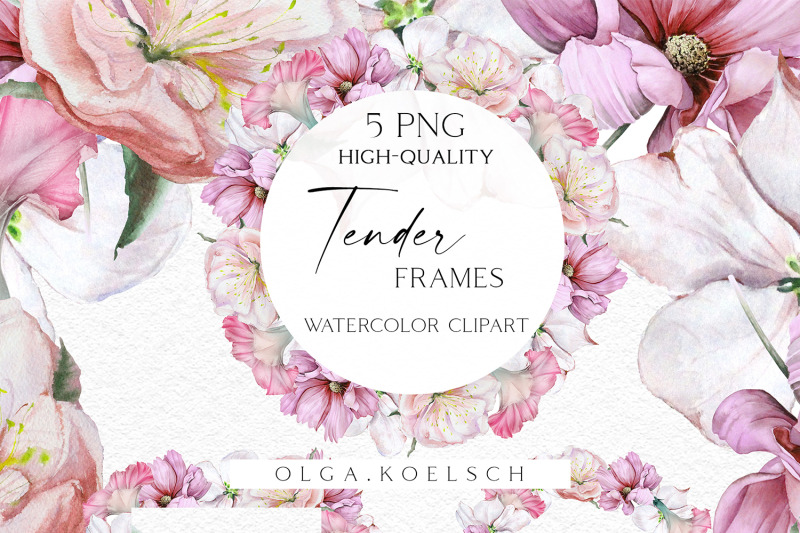 watercolor-boho-flowers-clipart-wedding-pink-floral-border-clipart
