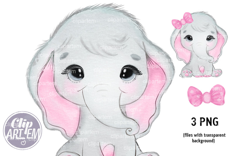 pink-sweet-girl-elephant-with-bow-png-image-clip-art