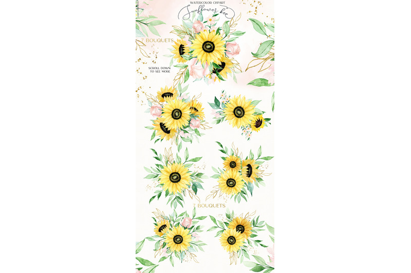 sunflower-bee-watercolor-clipart