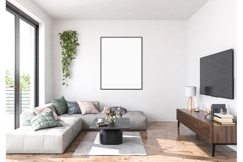 Download Interior scene_artwork background_frame mockup Free Mockups