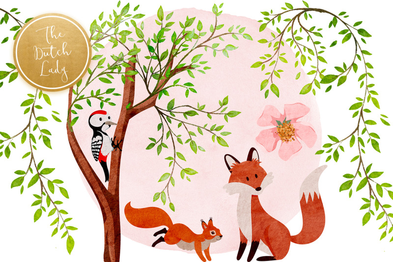 the-blossoming-forest-clipart-set
